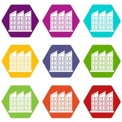 Building icon set color hexahedron