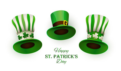 St. Patrick's Day. Three traditional leprechaun hats and congratulation text. Set of objects for festive design. Vector illustration