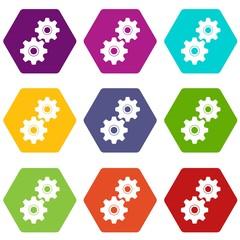 Gear icon set color hexahedron