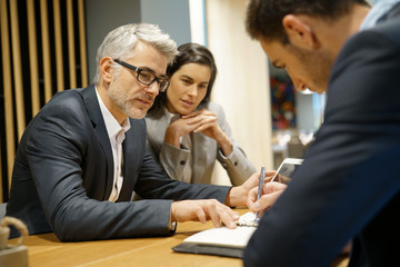 Business people meeting in restaurant room