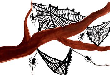 Рисунок с изображением пауков и паутины.