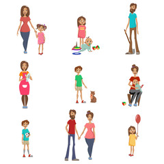 Parents and their kids set, mom, dad and children in different situations, happy family concept cartoon vector Illustrations