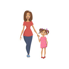 Mother and daughter holding hands, happy family colorful cartoon vector Illustration