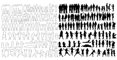 collection of silhouettes of children, children's outfits