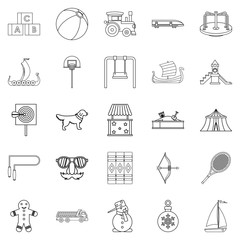 Dotish icons set, outline style