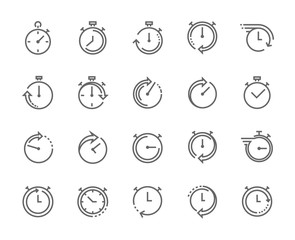 Stop watch symbol, fast time icon, express and urgent services. 48×48 pixel perfect. Editable stroke.