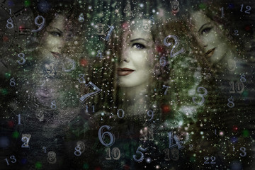 Universe,numerology and woman face