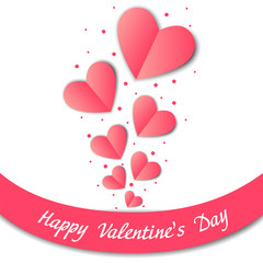Happy Valentines Day card with paper hearts