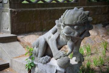 Chinese stone lion. The Chinese sculpture of a lion from a stone