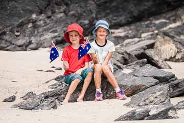 Boy and girl with flag of Australia