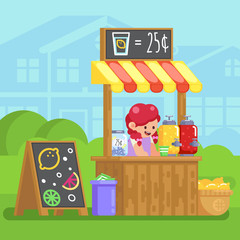 Lemonade booth with happy little cute girl selling young business Vector colorful illustration in flat style image