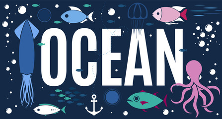 Sea animals collection ocean background
