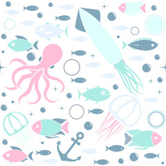 Sea life cute blue seamless pattern