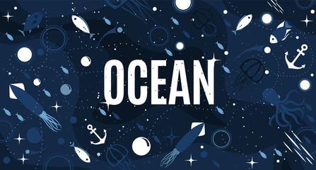 Sea life cute blue horizontal background