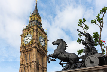 Boadicea Statue kicking Big Ben Clock Tower, London, England