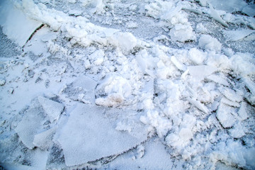 The texture of the ice on the river in winter
