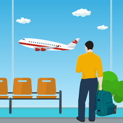 Man with a Backpack Looking out the Window on a Flying Airplane , Waiting Room at the Airport, Travel and Tourism Concept, Vector Illustration