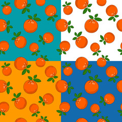 Set of four Seamless Fruit Citrus Patterns ,Tropical Fruit Orange on White Green Yellow and Blue Background, Vector Illustration