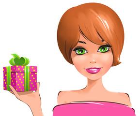 Рыжая девушка держит коробку в подарочной упаковке