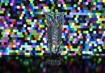 glass transparent vase on the background
