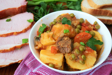 tasty stewed vegetables with meat
