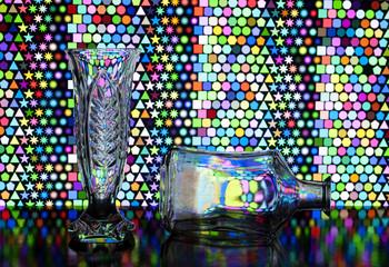 transparent vase and bottle