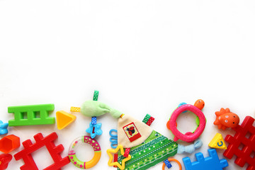 Children's toys and accessorieson a White background.view from above