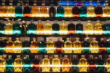 Colorful bottles on shelves