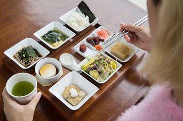 Japanese breakfast. Typical set of japanese healthy breakfast