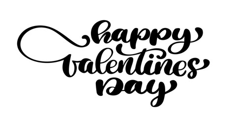 Happy Valentines Day typography poster with handwritten calligraphy text, isolated on white background. Vector Illustration. Fun brush ink typography for photo overlays, t-shirt print, flyer, poster