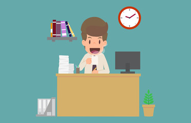 Businessman happiness drinking coffee and working on  desk.cartoon of business success is the concept of the man characters business, the mood of people,background,infographic. vector illustration