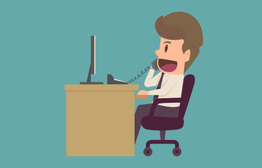 Businessman talking on the phone at the office Sitting At Desk In Office.Cartoon of business success is the concept of the man characters business,background, banner, infographic. vector illustration