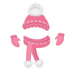 Hat with a fluffy pompon, scarf, mittens. Set of winter clothes.