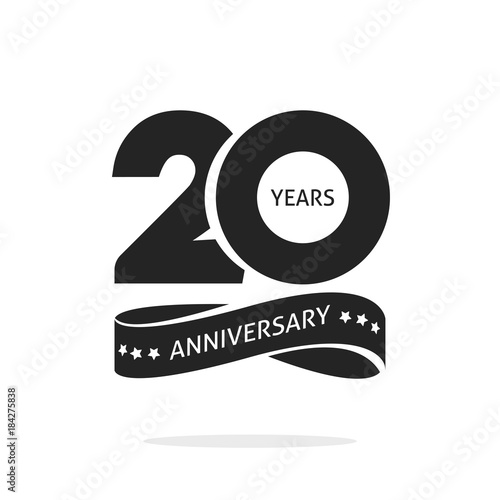 20 Years Anniversary Logo Template Isolated On White Black And