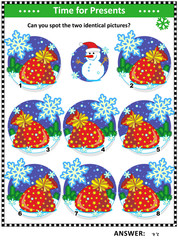 Winter, Christmas or New Year themed visual puzzle with Santa's sacks full of toys and presents: Can you spot the two identical pictures? Answer included.