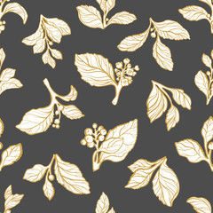 Seamless pattern with vector set of mate branches.
