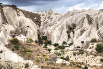 Inside the red and rose valley in Cappadocia in Turkey