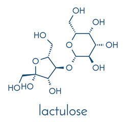 Lactulose chronic constipation drug (laxative) molecule. Skeletal formula.