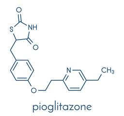 Pioglitazone diabetes drug molecule. Skeletal formula.