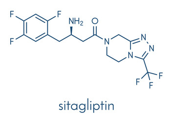 Sitagliptin diabetes drug molecule. Skeletal formula.