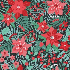 Elegant Christmas festive seamless pattern with green and red traditional holiday natural decorations on dark background - flowers, berries, leaves, fir needles. Vector illustration for textile print.
