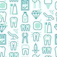 Dentist seamless pattern with thin line icons of tooth, implant, dental floss, crown, toothpaste, medical equipment. Modern vector illustration.