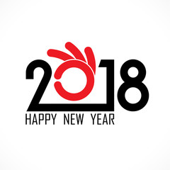 2,0,1 and 8 and hand sign with holiday background concept.Happy new year 2018 holiday background.2018 Happy New Year greeting card.Vector illustration