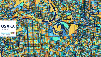 Osaka,Japan, Colorful Vector Artmap