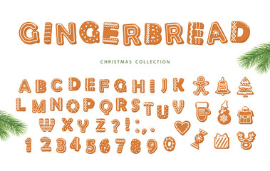 Christmas cartoon big set. Gingerbread alphabet and different cookies collection.