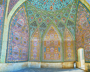 In summer hall of the mosque, Shiraz, Iran