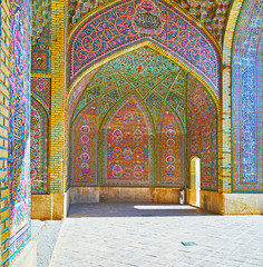 Interiors of Nasir Ol-Molk mosque, Shiraz, Iran
