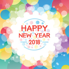 Happy New Year 2018 background decoration. Greeting card design template 2018 confetti. Vector illustration of date 2018 year