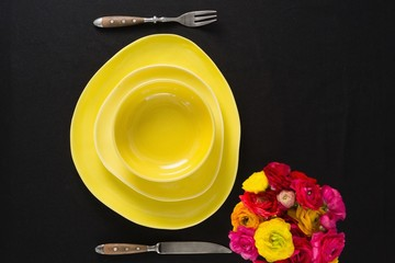 Table setting with floral arrangement