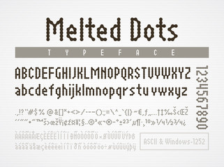 Melted dots pixel font. ASCII Windows-1252 code charts